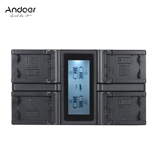 Andoer NP-FW50 NPFW50 czterokanałowa ładowarka sieciowa z wyświetlaczem LCD dla Sony α7 α7R α7sII α7II α6500 A6300 α7RII seria NEX