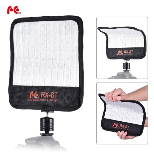 FalconEyes RX-8T 16W Mini LED Light Dimmable 5600K CRI94 Flexible Cloth On-camera Lamp Daylight Splashproof for Video Studio Photography