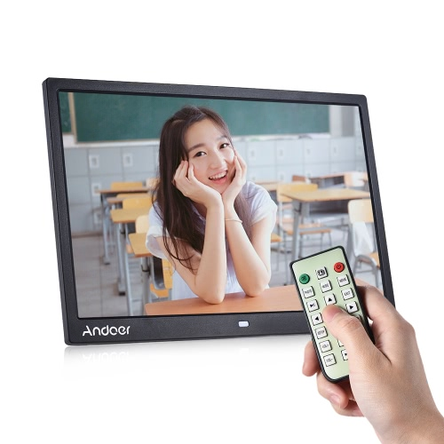 "Andoer 15 ""TFT LED Digital Photo Frame Screen Desktop Album Imagem de exibição 1080P MP4 Vídeo MP3 Áudio TXT eBook Clock Calendário 1280 * 800 HD com controle remoto infravermelho 7 Touch Key Support Auto Mixed Play 14 Idiomas com Stress Detwable"