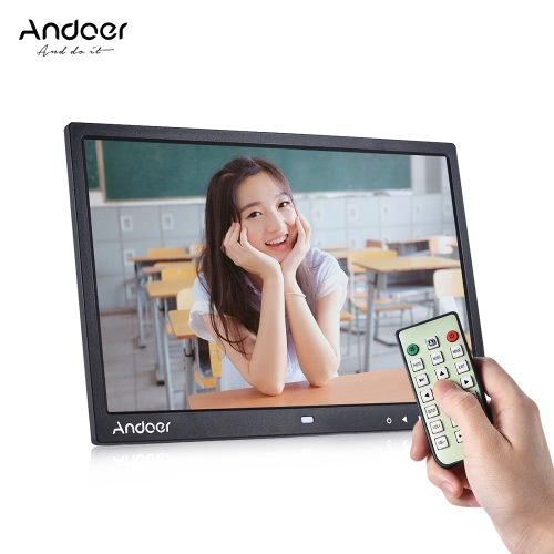 "Andoer 15 ""TFT LED Digital Photo Frame Écran Desktop Album Image d'affichage 1080P MP4 Vidéo MP3 Audio TXT eBook Horloge Calendrier 1280 * 800 HD avec télécommande infrarouge 7 Touch Key Support Auto Mixed Play 14 langues avec stent déchirable"