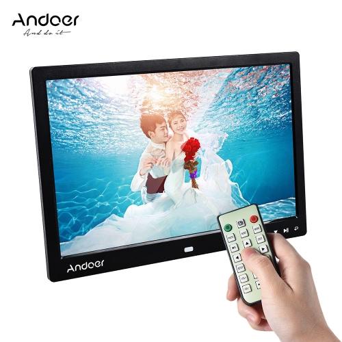 """Andoer 13 """"LED Digital Photo Frame Écran Écran de bureau Image d'affichage 1080P MP4 Vidéo MP3 Audio TXT eBook Horloge Calendrier 1280 * 800 Résolution HD avec télécommande infrarouge / 7 Touch Key Support Auto Play / 14 Langue / Stand"""
