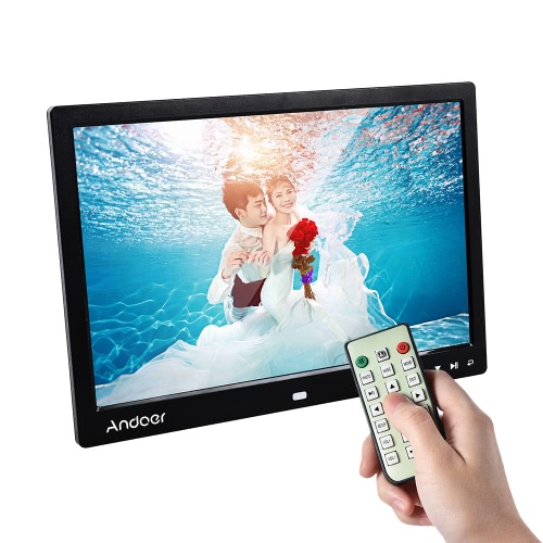 "Andoer 13 ""LED Digital Photo Frame Écran Écran de bureau Image d'affichage 1080P MP4 Vidéo MP3 Audio TXT eBook Horloge Calendrier 1280 * 800 Résolution HD avec télécommande infrarouge / 7 Touch Key Support Auto Play / 14 Langue / Stand"