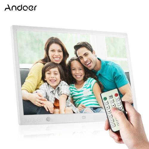 Andoer 15 pouces grand écran LED Digital Photo Frame Desktop