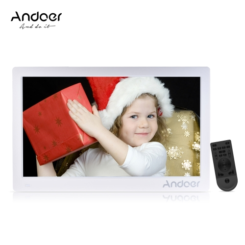 Andoer 15.6inch Digital Photo Frame 1920 * 1080 HD Advertising Machine Full View IPS Screen Support Random Play with Remote Christ