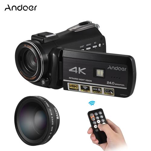 Andoer AC3 4K UHD 24MP Câmera de Vídeo Digital Camcorder DV Recorder com Extra 0.45X Wide Angle Lens