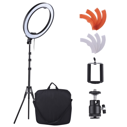 Andoer 18 Inch 5500K LED Video Light Dimmable Photography Ring Fill Light 600 LED Light Beads CRI90+ 36W with Light Stand Color Filters Phone Holder Bag for Photographic Lighting Portrait Photography Live Show