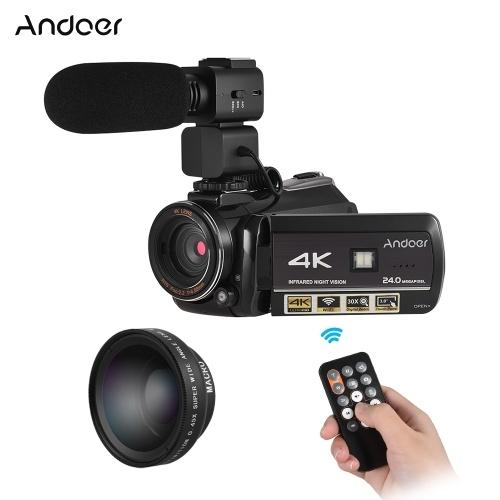 Andoer AC3 4K UHD 24MP Câmera de Vídeo Digital Filmadora Gravador DV com Extra 0.45X Wide Angle Lens + Microfone Externo