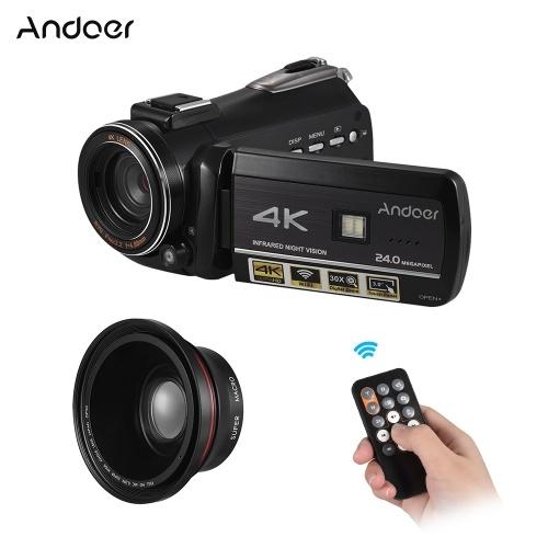 Andoer AC3 4K UHD 24MP caméra vidéo numérique caméscope DV avec Extra 0.39X grand angle