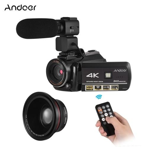 Andoer AC3 4K UHD 24MP Digitaler Videokamera Camcorder mit Extra 0.39X Weitwinkel Objektiv + Externes Mikrofon