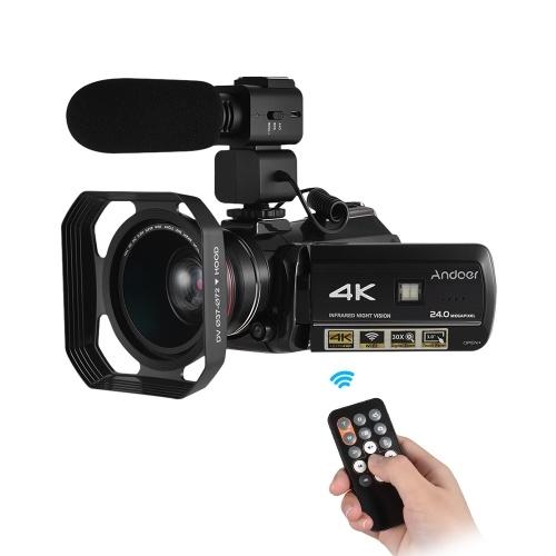 Andoer AC3 4K Digitalkamera Camcorder mit extra 0,39X Weitwinkelobjektiv + Gegenlichtblende + externes Mikrofon