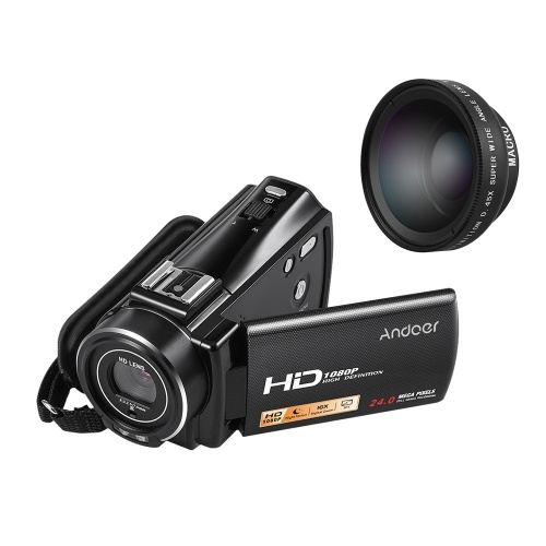 Andoer HDV-V7 PLUS 1080P Full HD 24MP Videocámara digital portátil con cámara de video