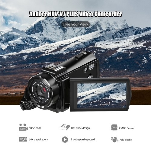 Andoer HDV-V7 PLUS 1080P Full HD 24MP Portable Digital Video Camera Camcorder