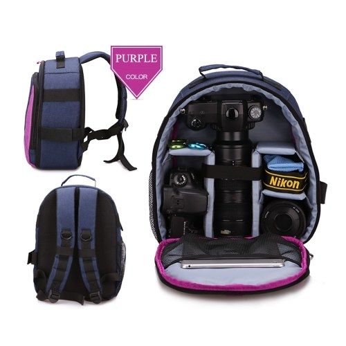 HUWANG Outdoor Photography Padded Camera Bag Travel Backpack Shock-proof Water-resistant with Tripod Holder Laptop Pocket for Nikon Canon Sony DSLR Cameras