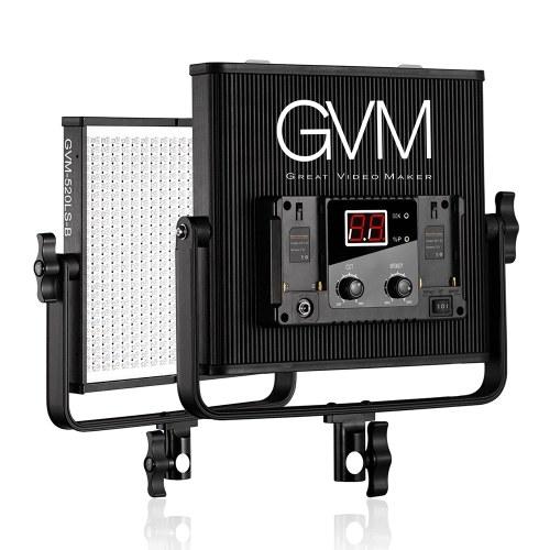 GVM GVM-520LS-B Lámpara de panel de video LED bicolor regulable CRI97 + TLCI97 3200-5600K Carcasa de aleación de aluminio con soporte en U para fotografía de retrato Entrevista Estudio de fabricación de películas Iluminación 30W