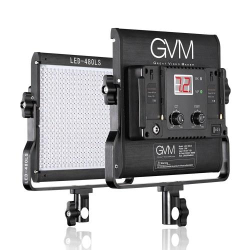 GVM LED-480LS Dimmable Bi-cor LED Painel de Luz de Vídeo CRI97 + TLCI97 2300K-6800K Alumínio Liga de Caixa com U-Bracket para Retrato Entrevista Film-making Studio Fotografia de Iluminação 29W