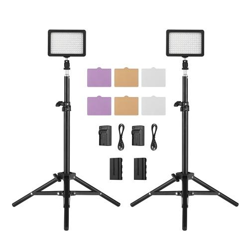 Andoer LEDビデオライトキット2pcs W160 5600Kモノカラー調光LEDビデオライト+ 6pcsカラーフィルター+ 2pcs Maxを含みます。 72cmライトスタンド+ 2pcs 7.4V 2200mAhマッチドバッテリー&バッテリー充電器(ILDC DSLRカメラ用)