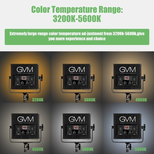 GVM GVM-520LS-B 2pcs Dimmable Bi-color LED Video Panel Light and 70inch Stand Lighting Kit CRI97+ TLCI97 3200-5600K Aluminum Alloy Housing with U-Bracket Interview Film-making Studio Photography