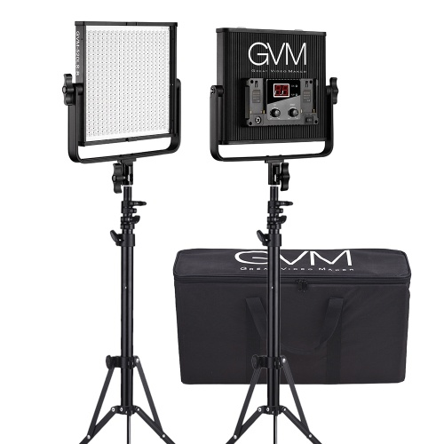 GVM GVM-520LS-B 2pcs Dimmable Bicolore LED Panneau Vidéo Lumière et 70inch Stand Éclairage Kit CRI97 + TLCI97 3200-5600K En Alliage D'aluminium Logement avec U-Support Interview Film-Making Studio Photographie