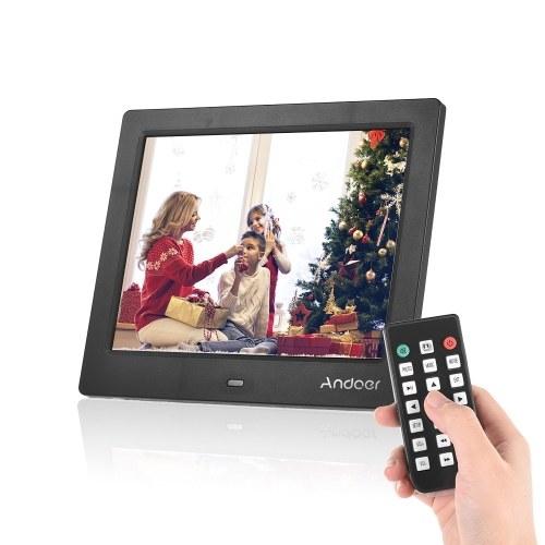 Andoer C805 8 pulgadas Marco de fotos digital LED compacto Álbum de escritorio 1024 * 768 4: 3 Admite funciones de música / video / reloj / calendario con control remoto