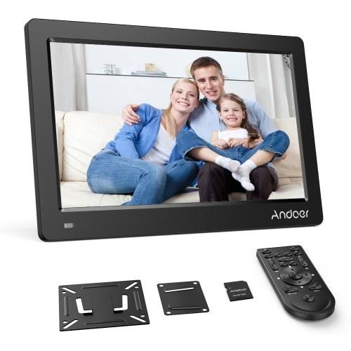 Andoer 13.3 Pulgadas Marco de fotos digital FHD 1920 * 1080 Pantalla IPS Calendario / Reloj / MP3 / Fotos / 1080P Reproductor de video con soporte de montaje en pared VESA estándar de 75 * 75 mm y tarjeta de memoria de 8GB y control remoto