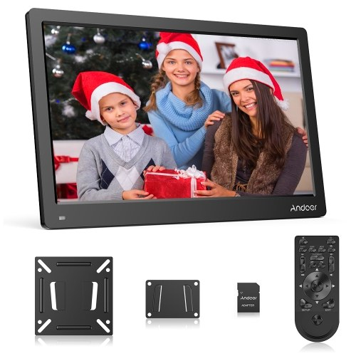 Andoer 13.3 Inch Digital Photo Picture Frame FHD 1920*1080 IPS Screen Support Calendar/Clock/MP3/Photos/1080P Video Player with 75*75mm Standard VESA Wall Mounting Bracket & 8GB Memory Card & Remote Control