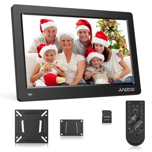 Andoer 15.6 Inch Digital Photo Picture Frame FHD 1920*1080 IPS Screen Support Calendar/Clock/MP3/Photos/1080P Video Player with 75*75mm Standard VESA Wall Mounting Bracket & 8GB Memory Card & Remote Control