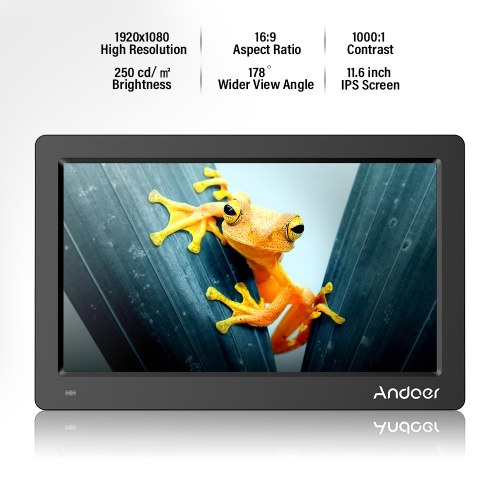 Andoer 11.6 Inch Digital Photo Picture Frame FHD 1920*1080  IPS Screen Support Calendar/Clock/MP3/Photos/1080P Video  Player with Remote Control 8GB Memory Card