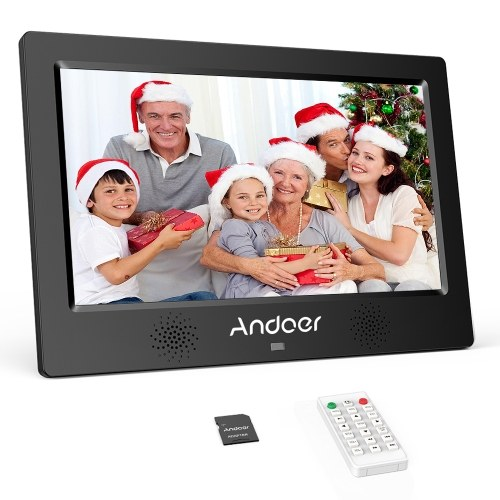 Andoer 10.1 Inch Digital Photo Picture Frame 1024*600 Resolution TFT-LED Screen Support Calendar/Clock/Alarm Clock/Photo/Music/Video with Remote Control 8GB Memory Card