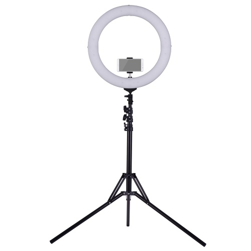 ZOMEI 18 Inch 2700-5500K Bi-color Dimmable Ring Video Light LED Fill Light CRI 90+ with Mini Ball Head Phone Holder Carrying Bag Light Stand (Folded 49cm) for Wedding Portrait Photography Live Show Beauty Selfie Video Shooting