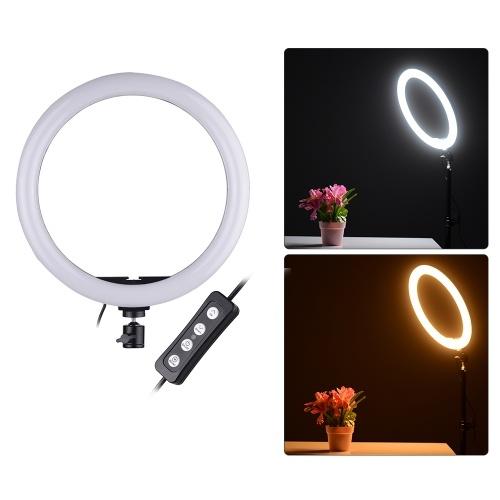 LED-Video-Ringlicht-Lampe mit kompakter Größe 24W Dimmbar 2700-5500K Farbtemperatur mit Smartphone-Halter 2 Stück Kugelköpfe für iPhone X / 8/7/6 / 6s für Samsung Huawei Xiaomi