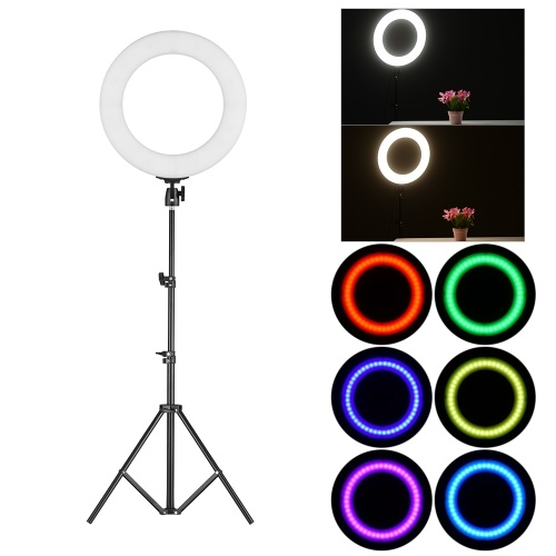 Portable 14 Inch LED Video Ring Light Studio Photography Lamp RGB Color Lights with Tripod Stand Carry Bag