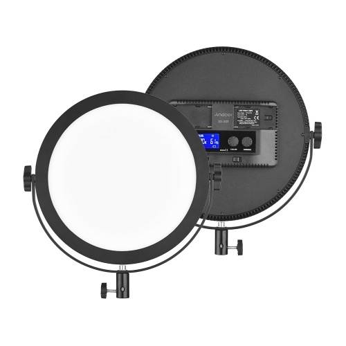 Andoer SO-30T Ultrathin Bi-color Round LED Video Light 3200K-5600K Photography Fill Light Stepless Diammable LCD Display Screen CRI 97+ Power 30W for Portrait Wedding Still Life Photography Video Live D6360EU