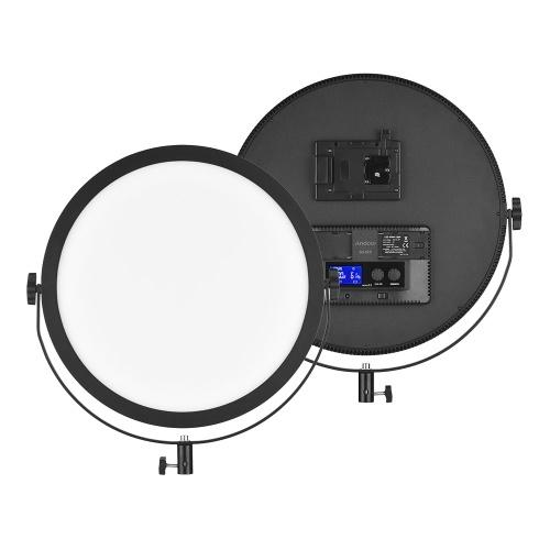 Andoer SO-50T Ultrathin Bi-color Round LED Video Light 3200K-5600K Photography Fill Light Stepless Diammable LCD Display Screen CRI 97+ Power 50W for Portrait Wedding Still Life Photography Video Live