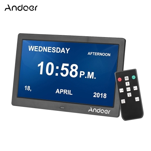 Andoer 10 Inch 1024*600 IPS Digital Clock Alarm Clock Calendar & Photo Frame