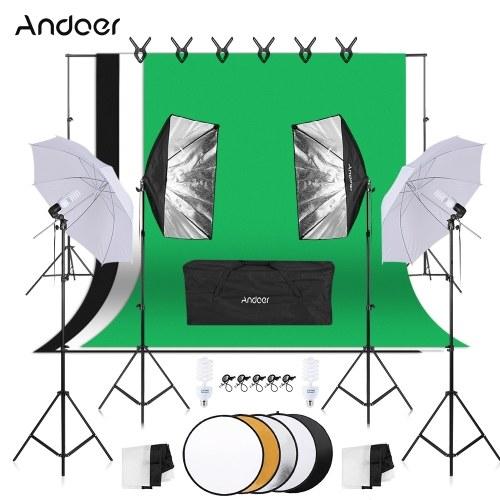 Andoer写真キット1.8 m * 2.7 mブラックホワイトグリーンコットン背景
