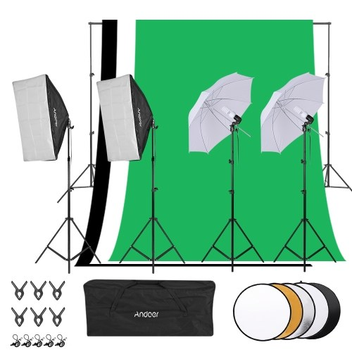 Andoer Photography Kit 1.8m*2.7m Black White Green Cotton Backdrops