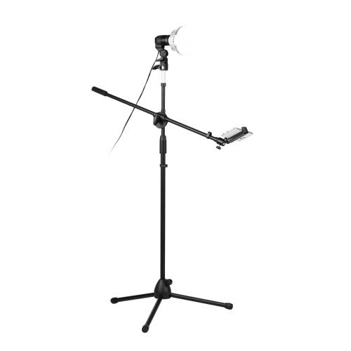 Kit di cavalletto per fotografia professionale da 140 cm Kit di supporto per treppiede da pavimento in lega di alluminio ad altezza regolabile
