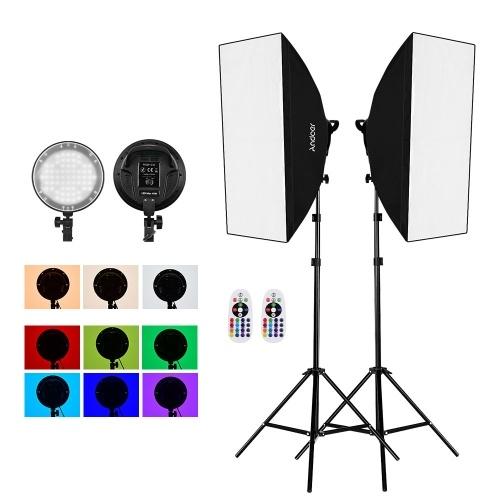 Andoer Studio Photography 2.4G RGB LED Light Softbox Kit
