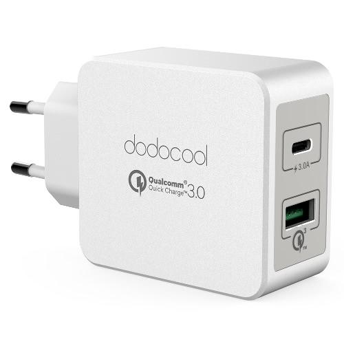 dodocool 33W 2 portas USB carregador de parede Power Adapter com Reversible Type-C Quick Charge 3,0 cobrando portas UE plugue branco