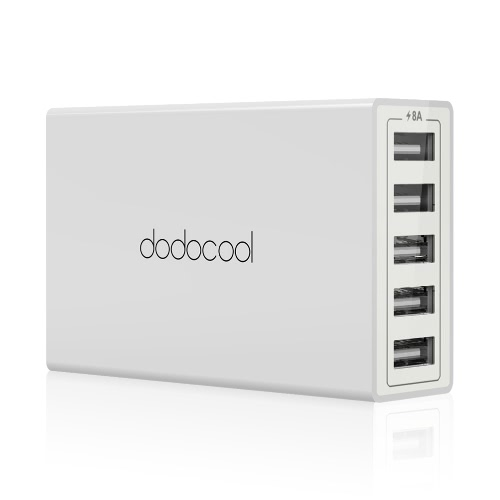 dodocool 40W 8A 5-Port USB Charging Station Travel Wall Charger Power Adapter with 1.5m Detachable AC Power Cord for iPhone / iPad / Android Smartphone Tablet Portable Device EU Plug White