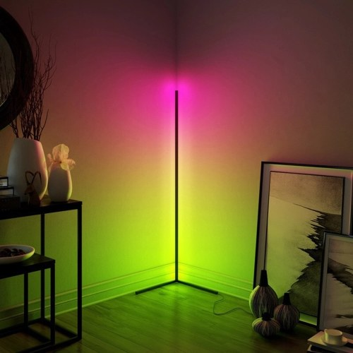 WiFi Smart RGB Corner Floor Lamp Color Changing APP Control LED Light for Corner of Room with Music Sync LED Corner Lamp for Living Room Bedroom Modern Home Party Decoration