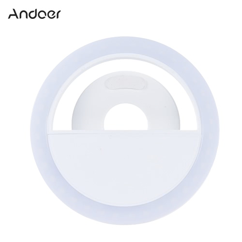 Andoer Portable Mini Clip-on Fill-in 36 LED Selfie Ring Light Lamp Night Using Supplementary Lighting 3 Modes w/ Built-in Battery USB Rechargeble for iPhone  7 / 7 Plus / 6s / 6s Plus / 6 / 6 Plus Samsung Smartphone PC