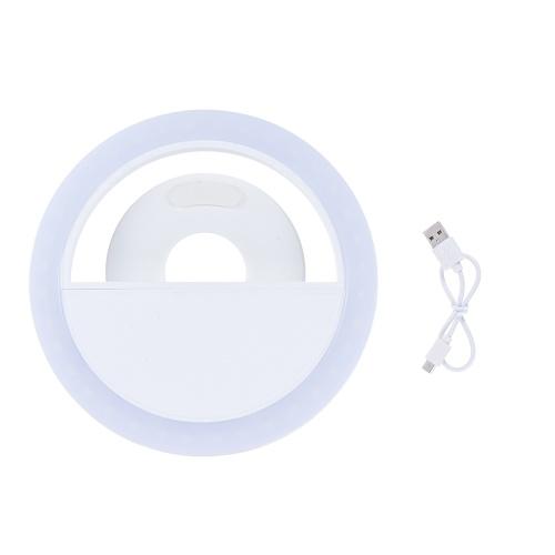 Andoer Portable Mini Clip-on Wypełnienie 36 LED Selfie Ring Noc lampy Korzystanie z dodatkowych lamp oświetleniowych 3 tryby w / wbudowany akumulator USB zasilacz dla iPhone 7/7 Plus / 6s / 6s Plus / 6/6 Plus Samsung Smartphone PC