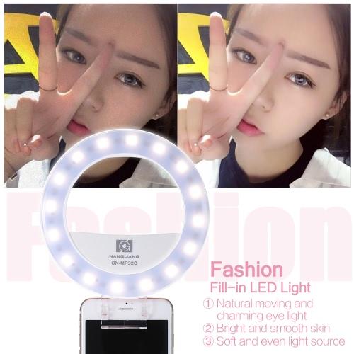 Nanguang CN-MP32C Clip-on selfie Wypełnij Pierścień LED Flash dwukolorowa 3200-5600K wysokim CRI 95 Płynna Regulowany okrągły kształt z 32 LED, lusterko do makijażu Iphone Samsung Smartphone Białej