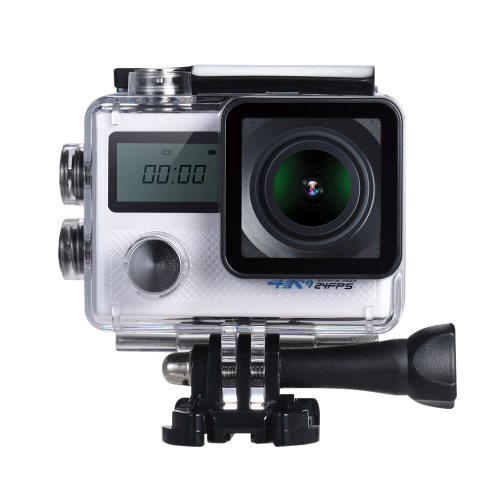 4K 24fps WiFi Sports Action Camera 20MP 1080P 60fps Giroscópio Anti-shake Suporte 5X Zoom Dual LCD Screen Impermeável 30m 170 ° Selecionável Wide Angle Lens Car DVR Camcorder
