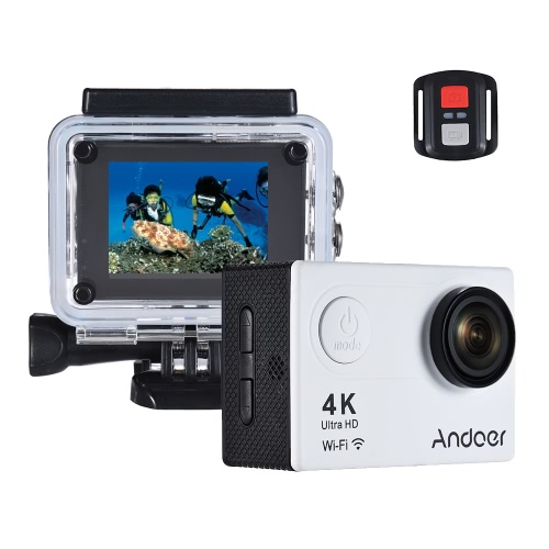 "Andoer AN6000 4K 16MP WiFi Câmera de ação de ação 1080P Ultra HD com controle remoto 2 ""LCD 170 ° Wide Angle Lens Support 4X Zoom Mergulho 40m Slow Motion Drama Photo"