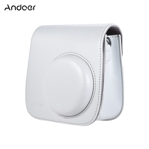 Andoer PU Instant Camera Case Bag with Strap for Fujifilm Instax Mini 9/8/8+/8s Smokey White
