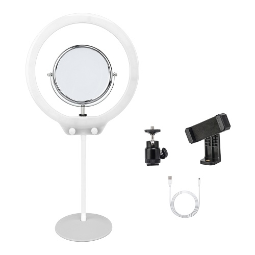 ZOMEI ZM128 Portable Kamera Foto Studio Telefon Video 128 LED Ring Licht 3200K-5600K Bi-Color Dimmbare verschönern Lampe mit Spiegel und Telefon Clamp für iPhone X / 8/7 Plus für Canon Nikon Sony DSLR