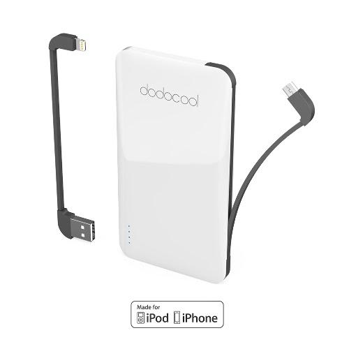 Dodocool MFi Certified Ultra Slim 5000 mAh 2 porty Bank Rezerwy Baterii Zewnętrznej Akumulator Z Kablem do ładowania Micro-USB o długości 40 cm Odłączany Kabel USB i Kabel Błyskawiczny Biały