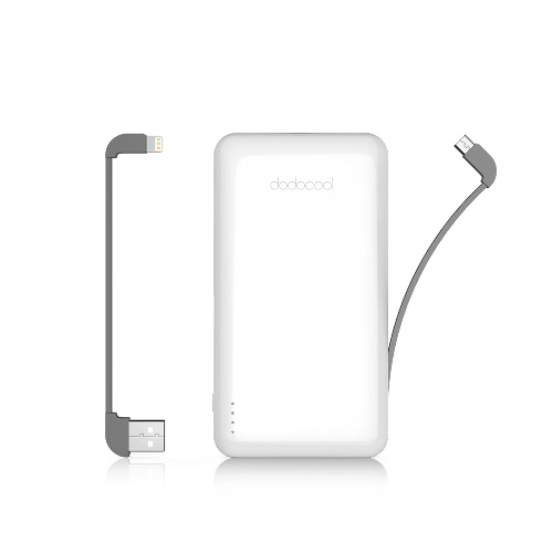 Dodocool MFi Certified Ultra Slim 10000 mAh 2-Port Power Bank Portable Ladegerät Backup Externes Lithium Polymer Akku mit abnehmbarem Blitzkabel und Micro-USB Kabel für iPhone X / iPhone 8 Plus / iPhone 8 / iPhone 7 Plus / iPhone 7 / iPhone SE / iPad / iPod und andere iOS und Android Geräte Weiß
